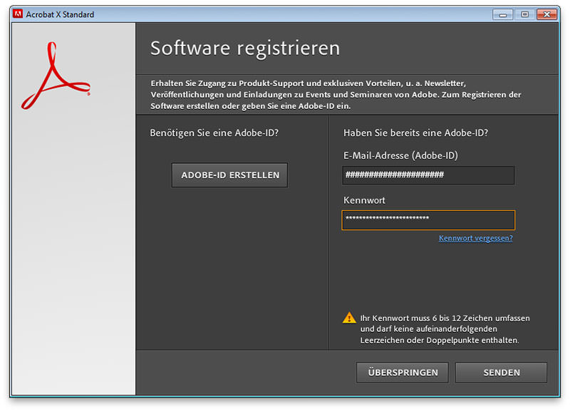 Adobe Software Registrierung