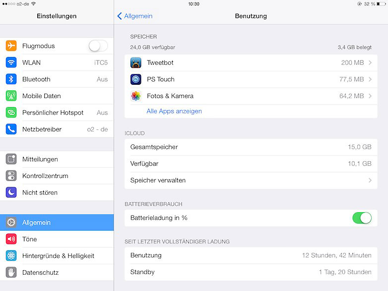 iPad Air Akkuleistung