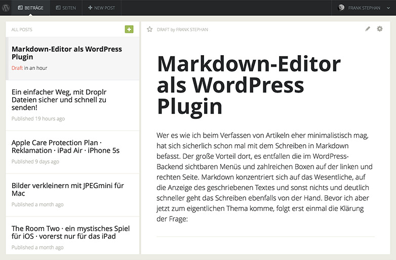 Gust WordPress-Plugin am iPad