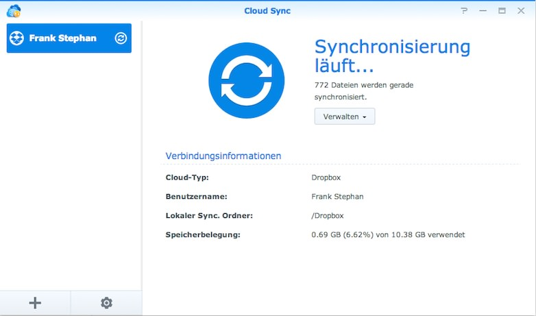 Synology Cloud Sync läuft