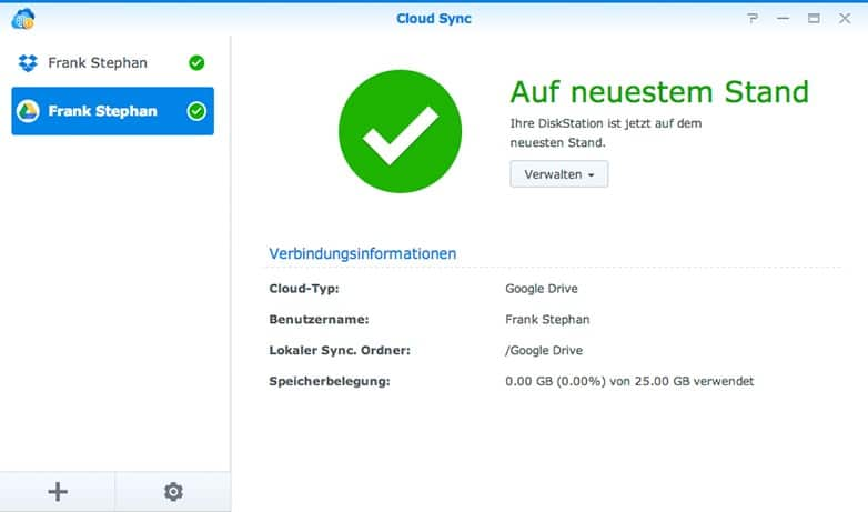 Synology Cloud Sync mit Google Drive