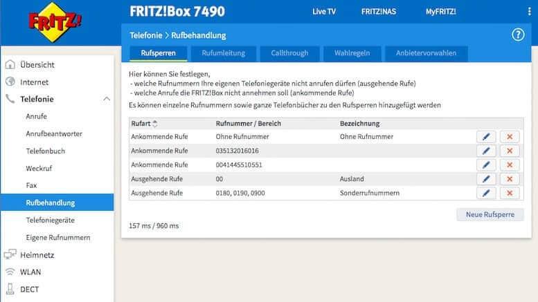 Rufsperre an FritzBox 7390/7490