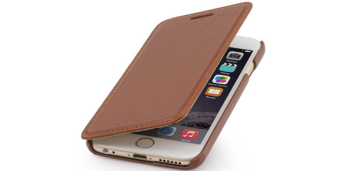 STILGUT Handyhülle 'Book Type' für iPhone aus echtem Leder aufgeklappt